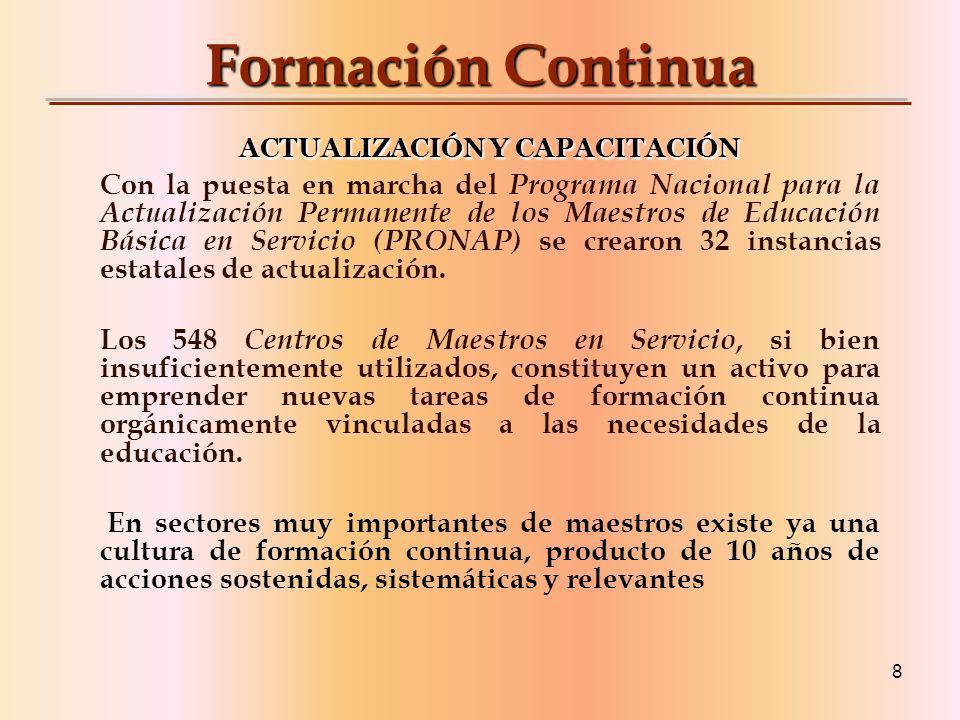 8 Formación Continua ACTUALIZACIÓN Y CAPACITACIÓN Con la puesta en marcha del Programa Nacional para la Actualización Permanente de los Maestros de Educación Básica en Servicio (PRONAP) se crearon 32 instancias estatales de actualización.