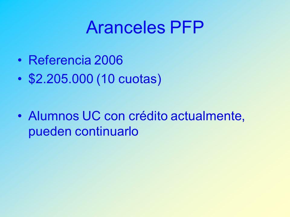 Aranceles PFP Referencia 2006 $2.205.000 (10 cuotas) Alumnos UC con crédito actualmente, pueden continuarlo