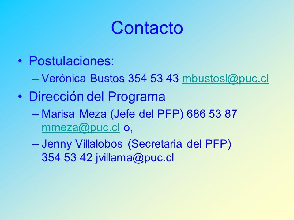 Contacto Postulaciones: –Verónica Bustos 354 53 43 mbustosl@puc.clmbustosl@puc.cl Dirección del Programa –Marisa Meza (Jefe del PFP) 686 53 87 mmeza@puc.cl o, mmeza@puc.cl –Jenny Villalobos (Secretaria del PFP) 354 53 42 jvillama@puc.cl