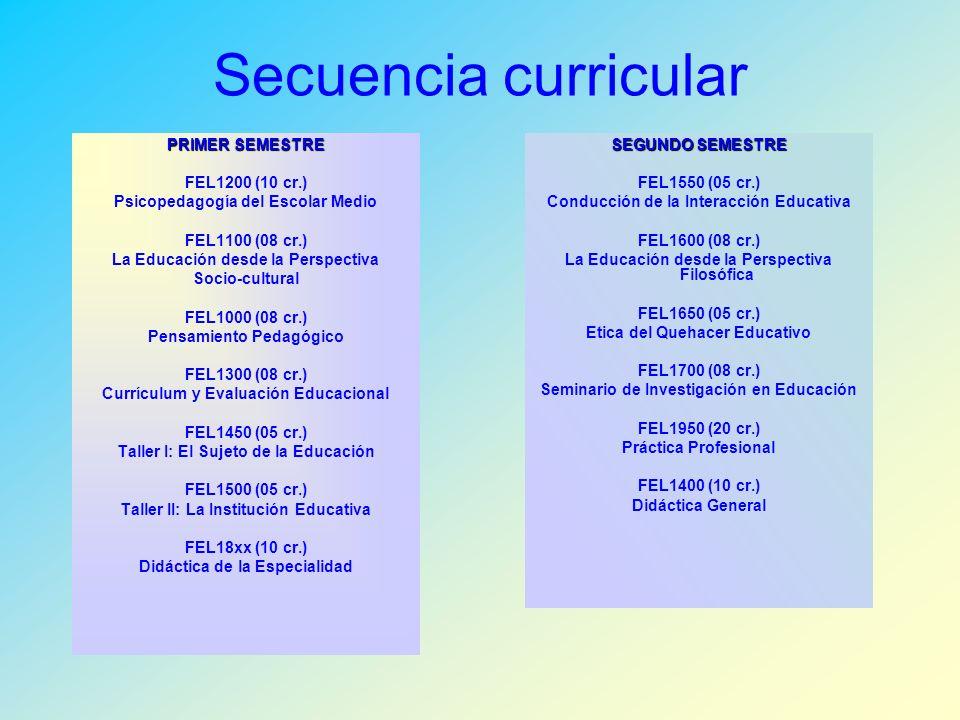 Secuencia curricular PRIMER SEMESTRE FEL1200 (10 cr.) Psicopedagogía del Escolar Medio FEL1100 (08 cr.) La Educación desde la Perspectiva Socio-cultural FEL1000 (08 cr.) Pensamiento Pedagógico FEL1300 (08 cr.) Currículum y Evaluación Educacional FEL1450 (05 cr.) Taller I: El Sujeto de la Educación FEL1500 (05 cr.) Taller II: La Institución Educativa FEL18xx (10 cr.) Didáctica de la Especialidad SEGUNDO SEMESTRE FEL1550 (05 cr.) Conducción de la Interacción Educativa FEL1600 (08 cr.) La Educación desde la Perspectiva Filosófica FEL1650 (05 cr.) Etica del Quehacer Educativo FEL1700 (08 cr.) Seminario de Investigación en Educación FEL1950 (20 cr.) Práctica Profesional FEL1400 (10 cr.) Didáctica General