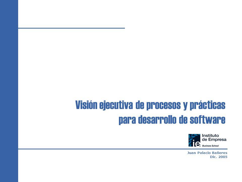 Juan Palacio Bañeres Dic. 2005 Visión ejecutiva de procesos y prácticas para desarrollo de software