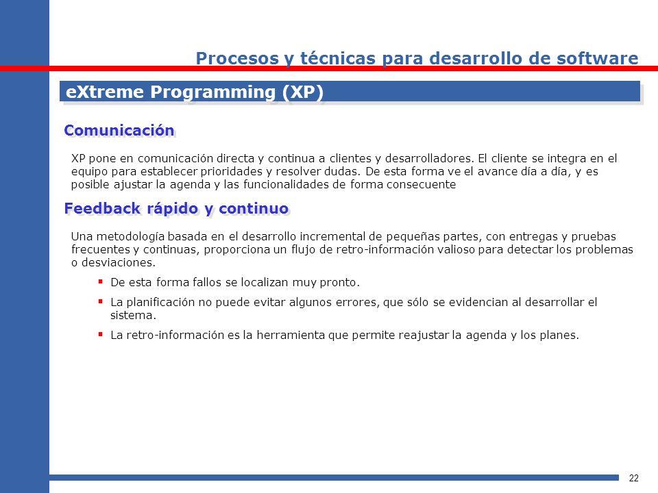 22 eXtreme Programming (XP) Procesos y técnicas para desarrollo de software XP pone en comunicación directa y continua a clientes y desarrolladores. E