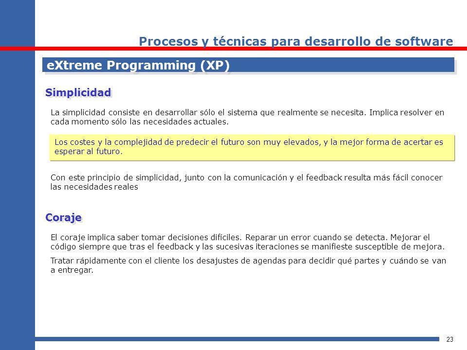 23 eXtreme Programming (XP) Procesos y técnicas para desarrollo de software La simplicidad consiste en desarrollar sólo el sistema que realmente se ne