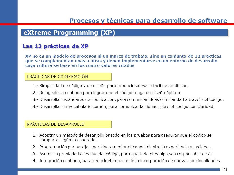 24 eXtreme Programming (XP) Procesos y técnicas para desarrollo de software XP no es un modelo de procesos ni un marco de trabajo, sino un conjunto de