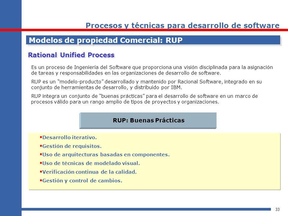 33 Procesos y técnicas para desarrollo de software Modelos de propiedad Comercial: RUP Rational Unified Process Es un proceso de Ingeniería del Softwa