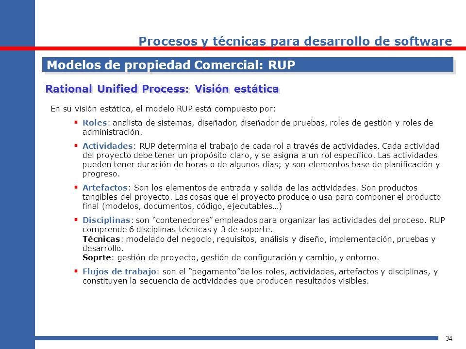 34 Procesos y técnicas para desarrollo de software Modelos de propiedad Comercial: RUP Rational Unified Process: Visión estática En su visión estática