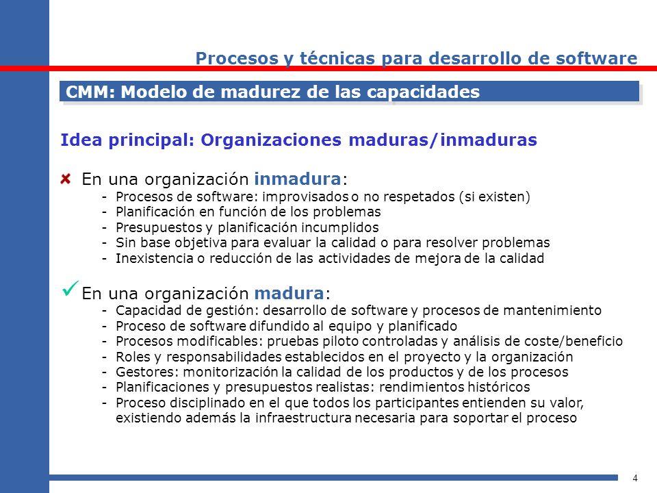4 CMM: Modelo de madurez de las capacidades Idea principal: Organizaciones maduras/inmaduras En una organización inmadura: -Procesos de software: impr