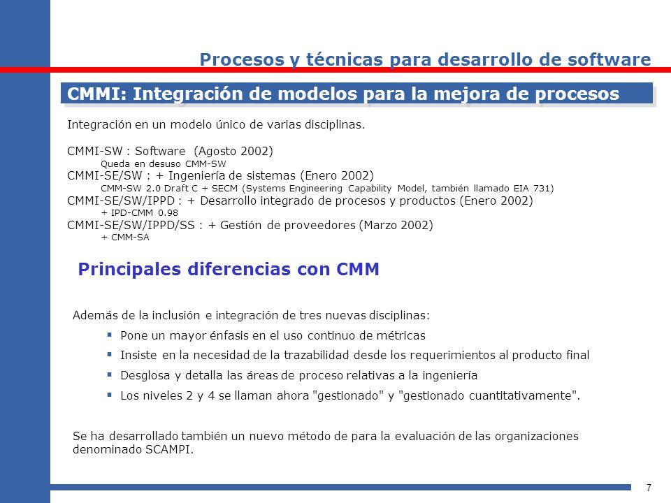 8 CMMI: Representaciones continuas y escalonadas CMMI-SE/SW Staged Representation CMMI-SE/SW Continuous Representation MADUREZ CAPACIDAD Atributo de la organización: cómo de previsible y repetible es la calidad de sus resultados, y su capacidad para aprender de la experiencia.
