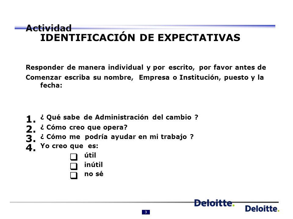 3 Actividad IDENTIFICACIÓN DE EXPECTATIVAS Responder de manera individual y por escrito, por favor antes de Comenzar escriba su nombre, Empresa o Institución, puesto y la fecha: 1.