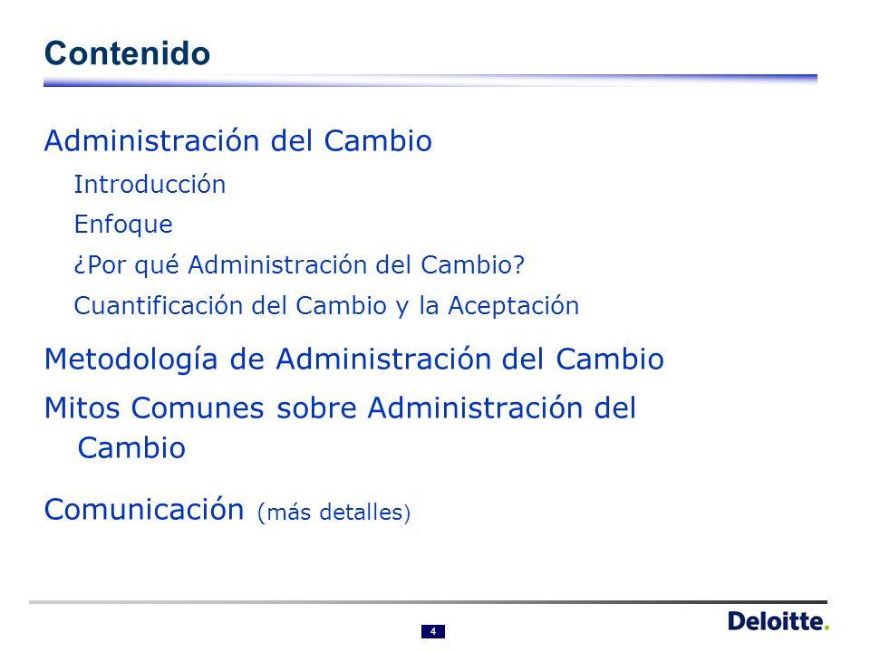4 Contenido Administración del Cambio Introducción Enfoque ¿Por qué Administración del Cambio.