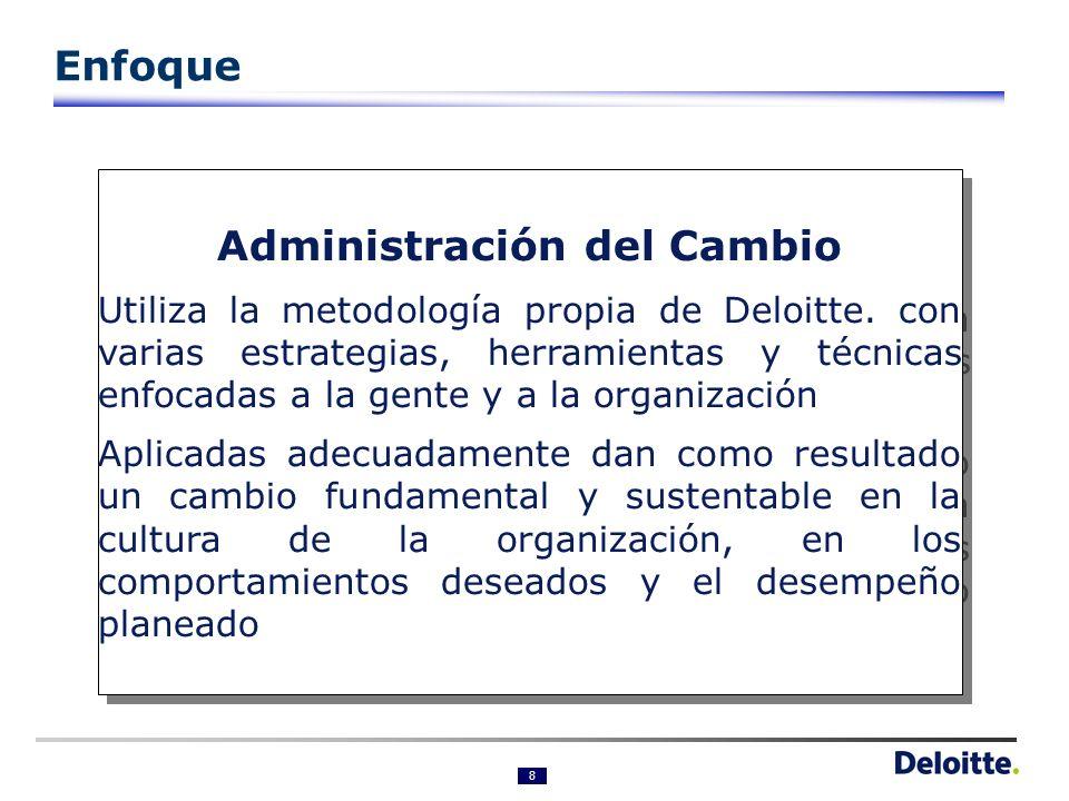 8 Administración del Cambio Utiliza la metodología propia de Deloitte.
