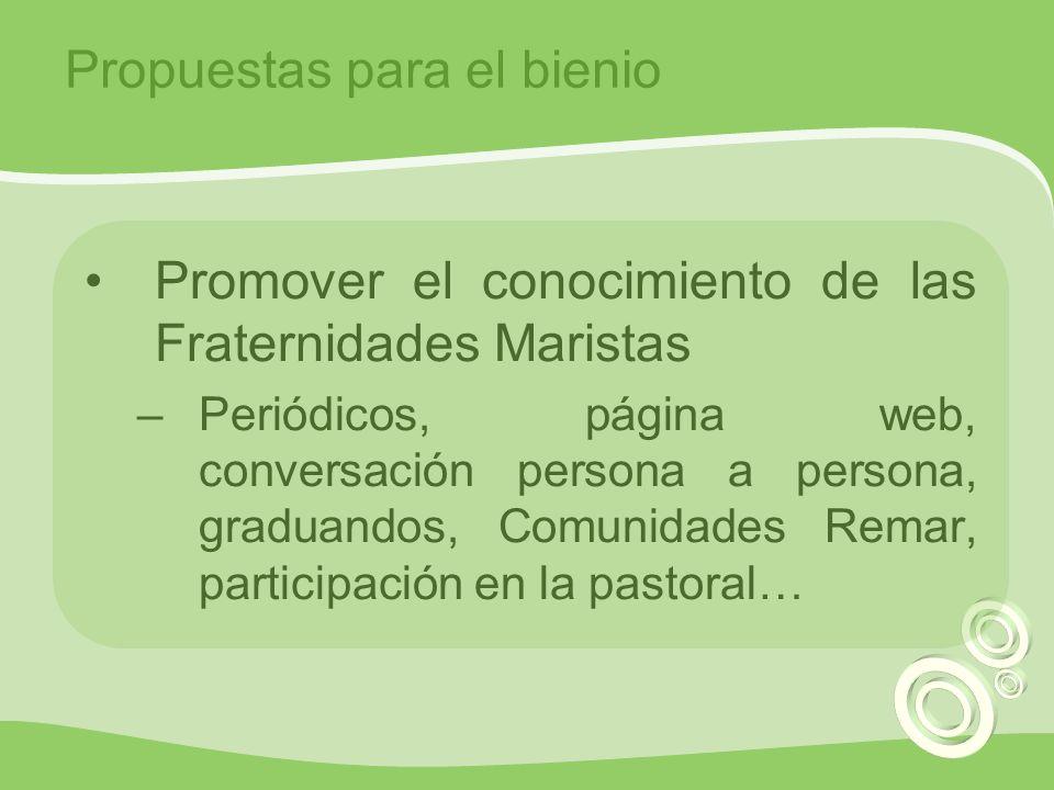 Promover el conocimiento de las Fraternidades Maristas –Periódicos, página web, conversación persona a persona, graduandos, Comunidades Remar, participación en la pastoral… Propuestas para el bienio
