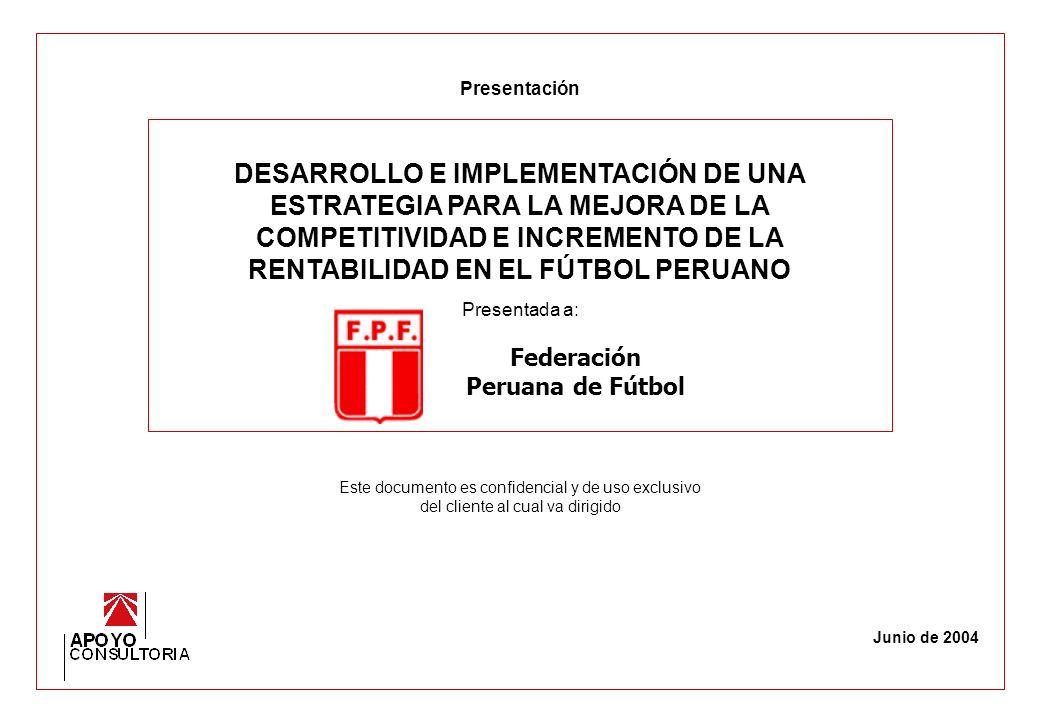 90 Propuesta – Asociación Deportiva de Fútbol Profesional La ADFP debe enfocarse en promocionar el campeonato de primera división y hacer de éste un negocio y un espectáculo.