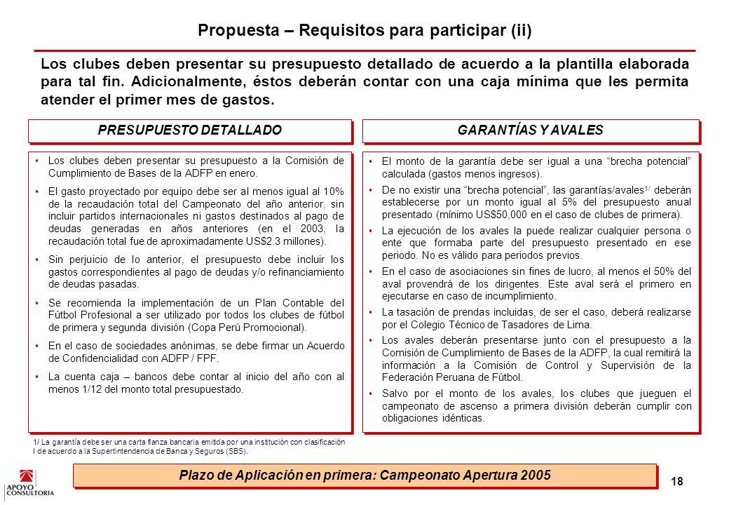 17 Propuesta – Requisitos para participar (i) Como, se mencionó previamente, como parte del cambio es necesario establecer criterios de entrada para el fútbol profesional.