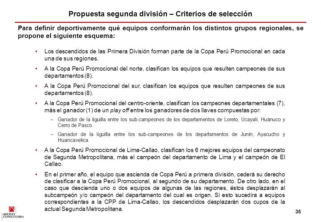 34 En este sentido, se propone la creación de un campeonato de segunda división conformada por cuatro ligas regionales.