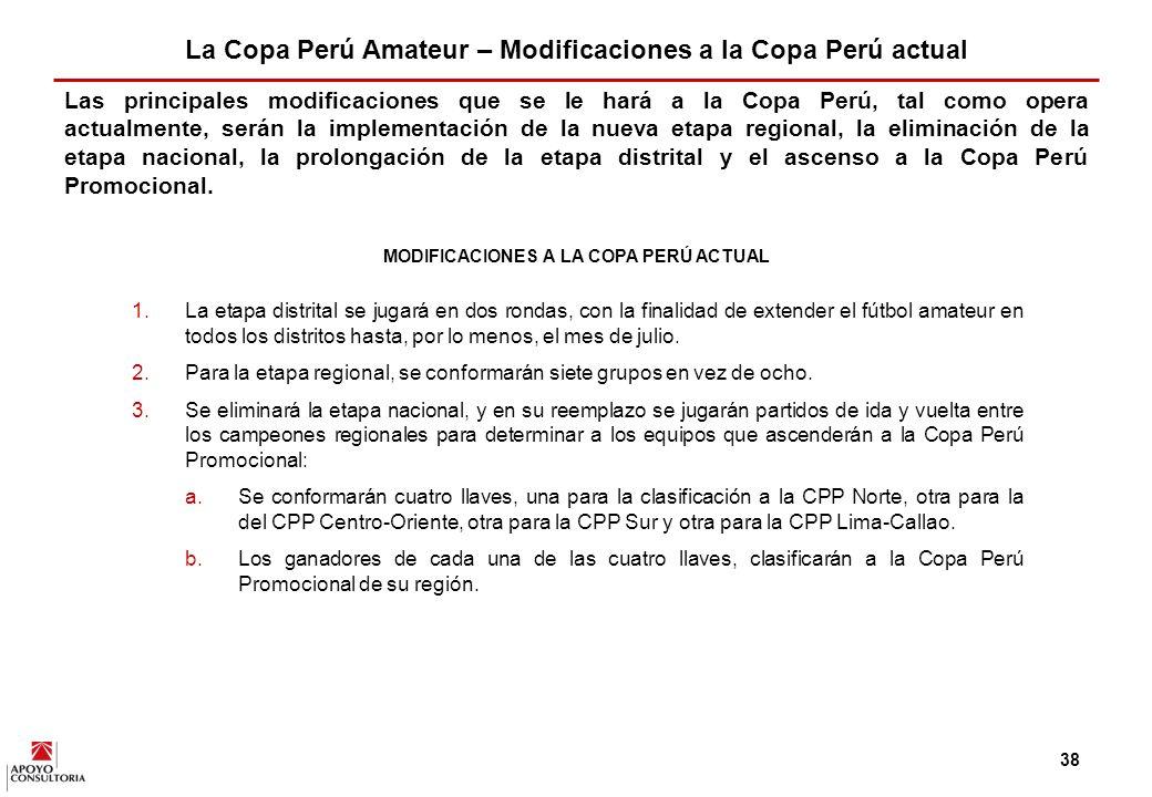 37 La Copa Perú Amateur - Etapas La Copa Perú Amateur será el nombre del campeonato base del sistema de campeonatos propuesto.