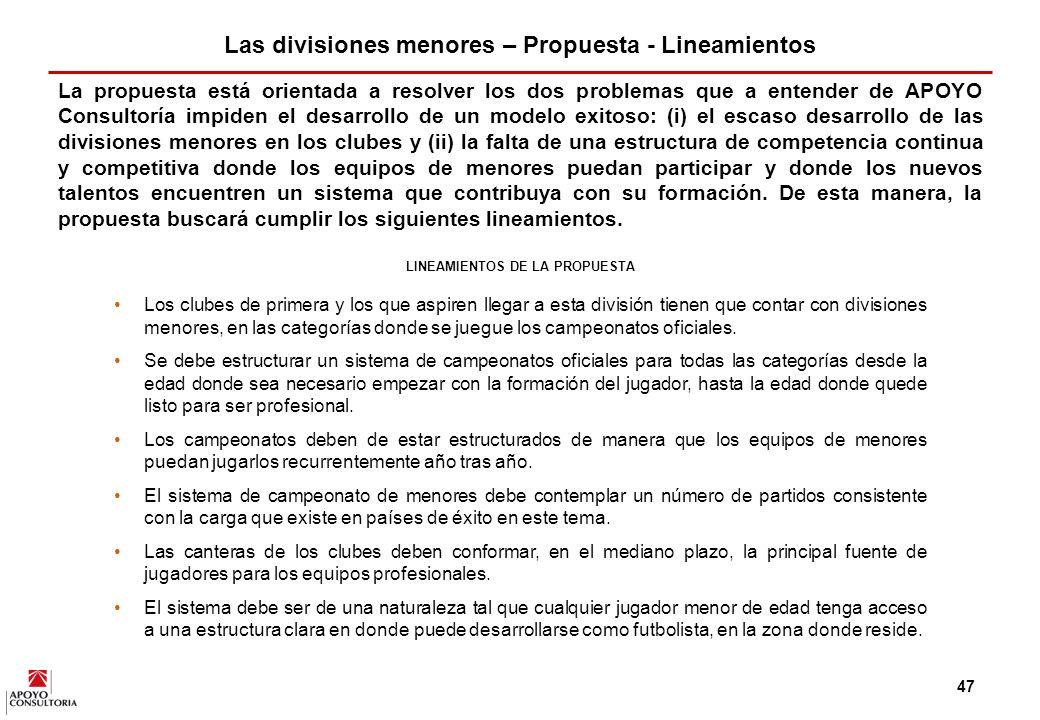 46 Se puede utilizar el modelo argentino como ejemplo de organización de un sistema de campeonato donde todos los clubes de la profesional y otros de divisiones inferiores, presentan sus propios equipos a estos torneos.