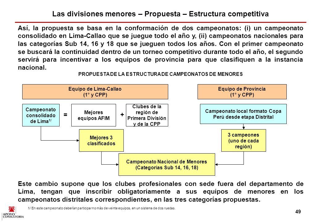 48 APOYO Consultoría propone que todos los clubes de primera y de la Copa Perú Promocional tengan obligatoriamente, como requisito para participar en estos torneos, equipos de menores en las categorías Sub 14, 16 y 18.
