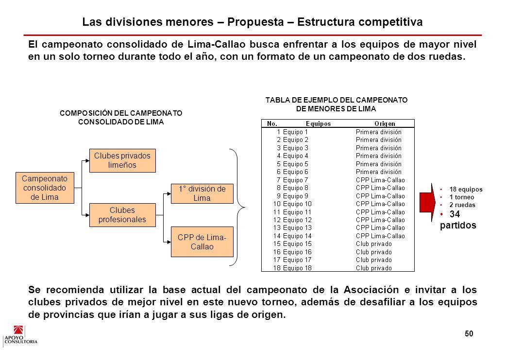 49 Así, la propuesta se basa en la conformación de dos campeonatos: (i) un campeonato consolidado en Lima-Callao que se juegue todo el año y, (ii) campeonatos nacionales para las categorías Sub 14, 16 y 18 que se jueguen todos los años.