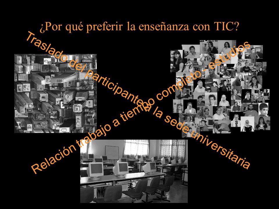 ¿Por qué preferir la enseñanza con TIC? Relación trabajo a tiempo completo - estudios Traslado del participante a la sede universitaria