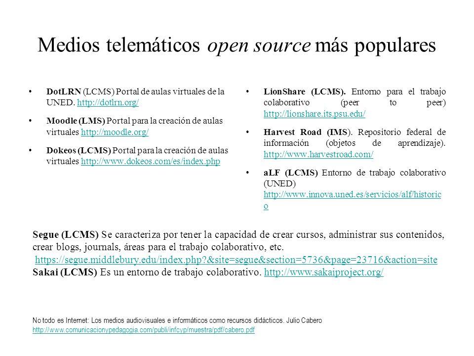 Medios telemáticos open source más populares DotLRN (LCMS) Portal de aulas virtuales de la UNED. http://dotlrn.org/http://dotlrn.org/ Moodle (LMS) Por