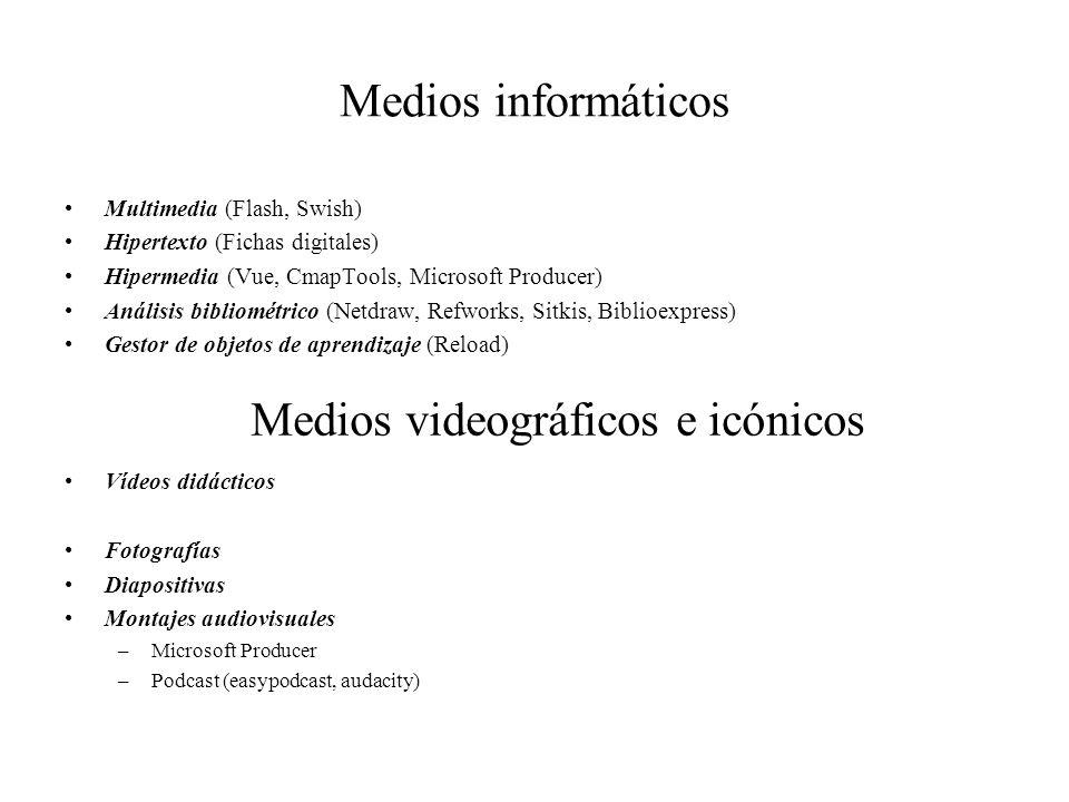 Medios informáticos Multimedia (Flash, Swish) Hipertexto (Fichas digitales) Hipermedia (Vue, CmapTools, Microsoft Producer) Análisis bibliométrico (Ne