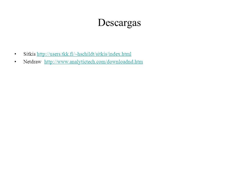 Descargas Sitkis http://users.tkk.fi/~hschildt/sitkis/index.htmlhttp://users.tkk.fi/~hschildt/sitkis/index.html Netdraw http://www.analytictech.com/do