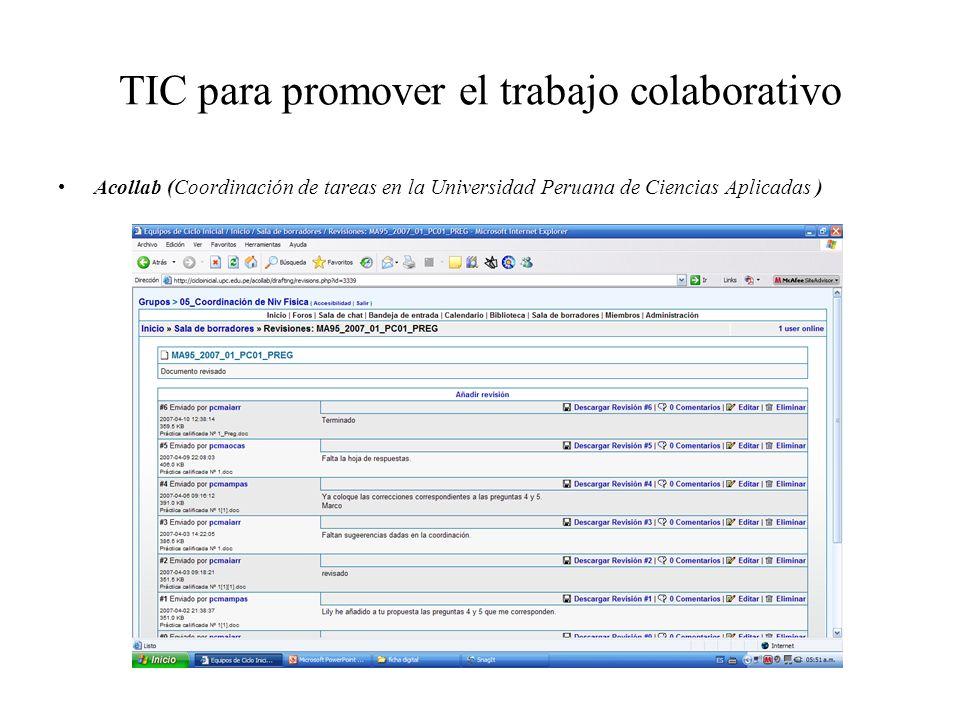 TIC para promover el trabajo colaborativo Acollab (Coordinación de tareas en la Universidad Peruana de Ciencias Aplicadas )