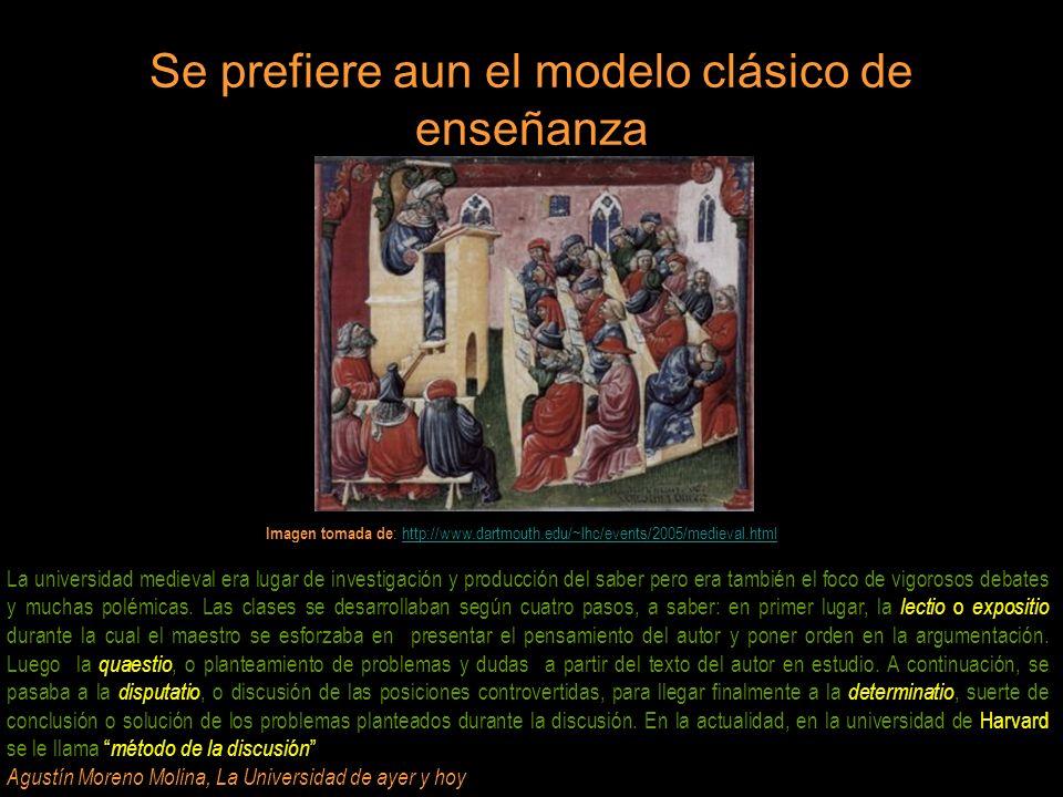 Se prefiere aun el modelo clásico de enseñanza Imagen tomada de : http://www.dartmouth.edu/~lhc/events/2005/medieval.htmlhttp://www.dartmouth.edu/~lhc