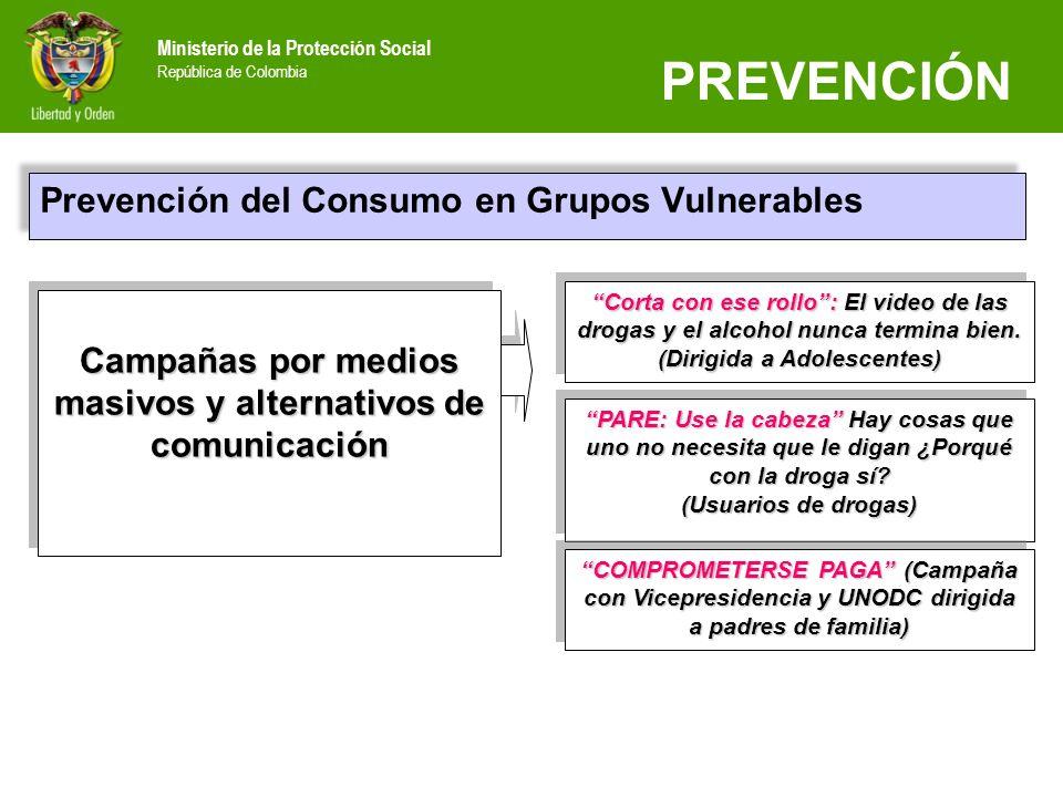 Ministerio de la Protección Social República de Colombia Prevención del Consumo en Grupos Vulnerables Campañas por medios masivos y alternativos de co