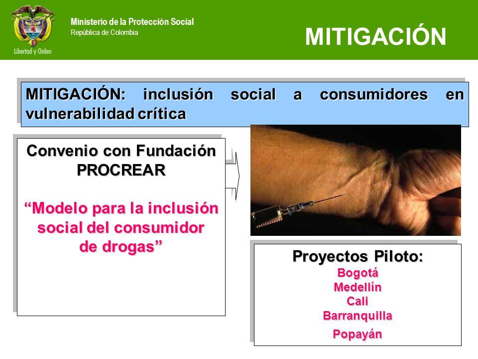 Ministerio de la Protección Social República de Colombia MITIGACIÓN MITIGACIÓN: inclusión social a consumidores en vulnerabilidad crítica Convenio con
