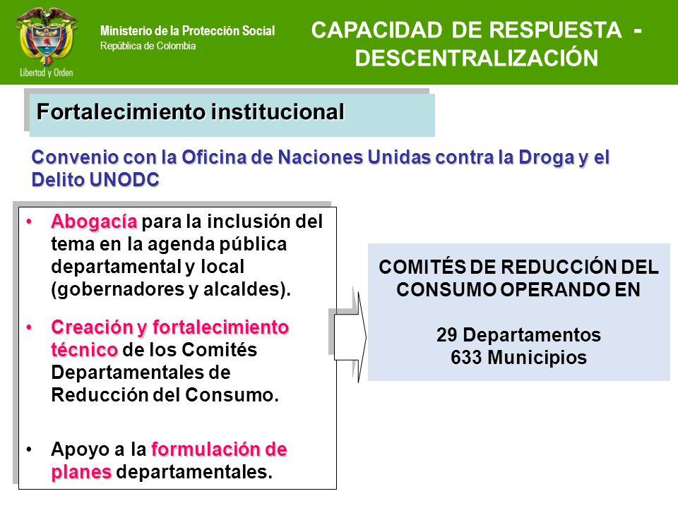 Ministerio de la Protección Social República de Colombia Convenio con la Oficina de Naciones Unidas contra la Droga y el Delito UNODC COMITÉS DE REDUC