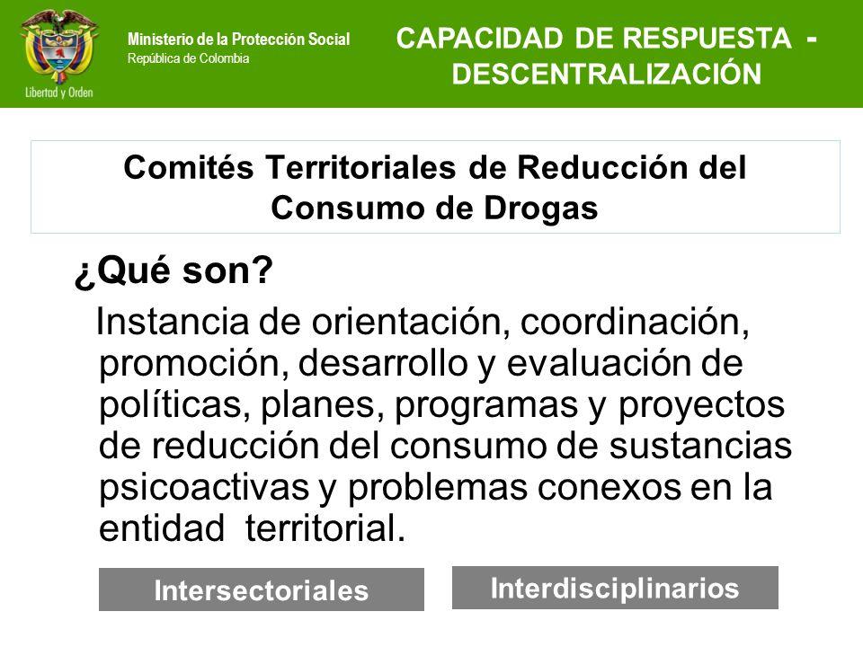 Ministerio de la Protección Social República de Colombia Comités Territoriales de Reducción del Consumo de Drogas ¿Qué son? Instancia de orientación,