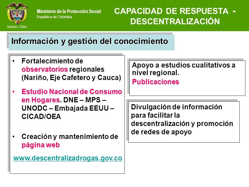 Ministerio de la Protección Social República de Colombia observatoriosFortalecimiento de observatorios regionales (Nariño, Eje Cafetero y Cauca) Estud