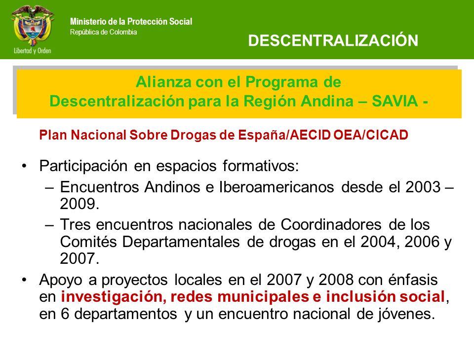 Ministerio de la Protección Social República de Colombia Plan Nacional Sobre Drogas de España/AECID OEA/CICAD Participación en espacios formativos: –E
