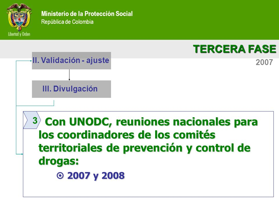 Ministerio de la Protección Social República de Colombia TERCERA FASE Ministerio de la Protección Social República de Colombia 2007 Con UNODC, reunion