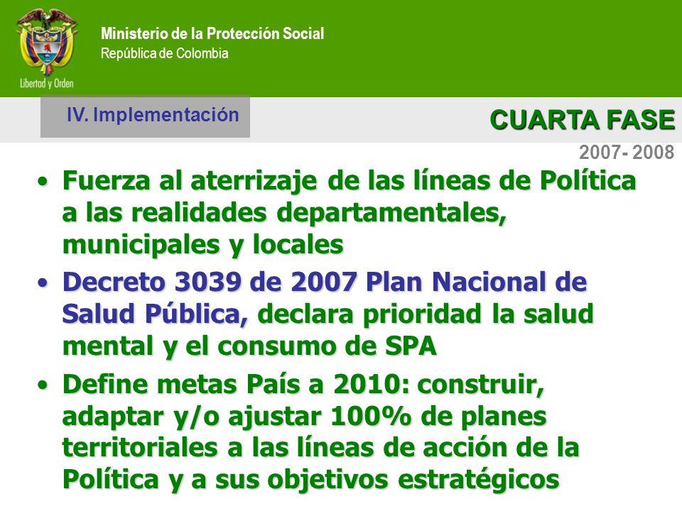 Ministerio de la Protección Social República de Colombia CUARTA FASE Ministerio de la Protección Social República de Colombia 2007- 2008 IV. Implement