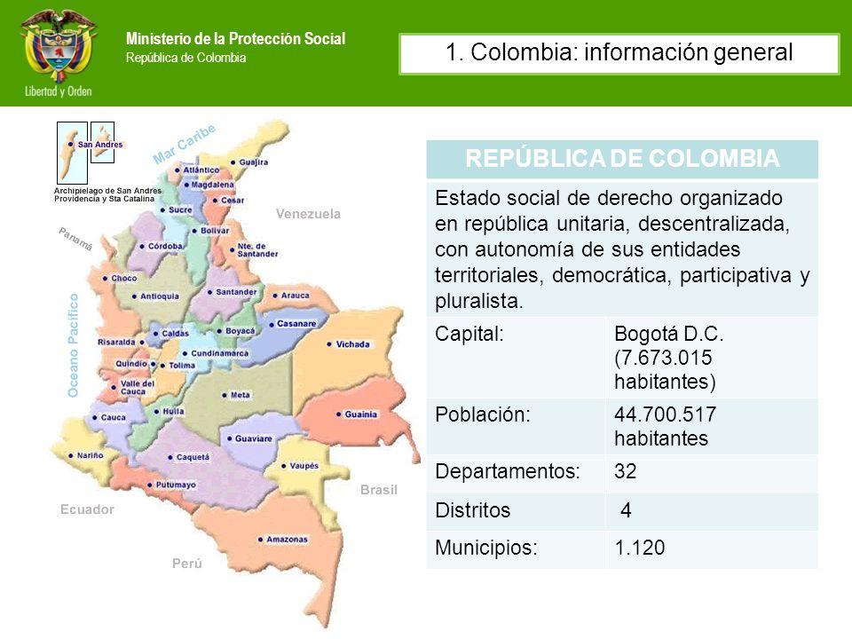 Ministerio de la Protección Social República de Colombia REPÚBLICA DE COLOMBIA Estado social de derecho organizado en república unitaria, descentraliz