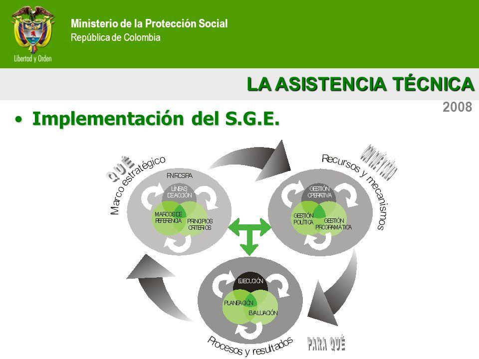 LA ASISTENCIA TÉCNICA Ministerio de la Protección Social República de Colombia 2008 Implementación del S.G.E.Implementación del S.G.E.