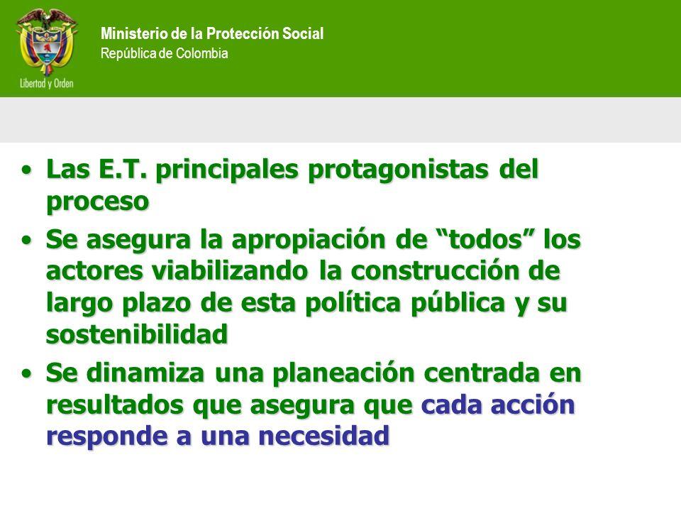 Ministerio de la Protección Social República de Colombia Las E.T. principales protagonistas del procesoLas E.T. principales protagonistas del proceso