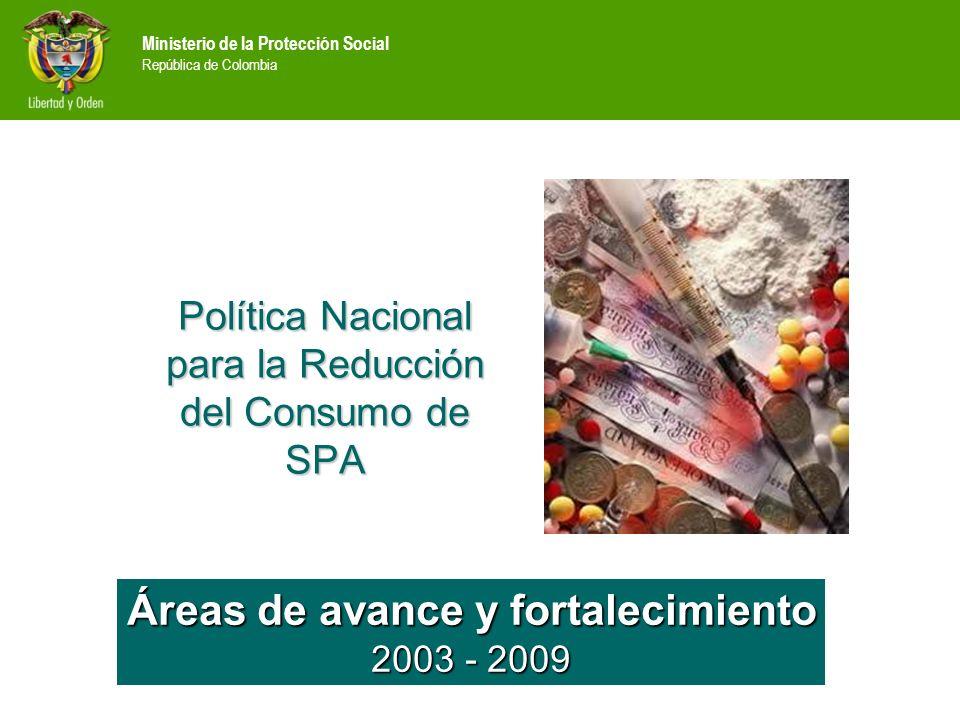 Ministerio de la Protección Social República de Colombia Áreas de avance y fortalecimiento 2003 - 2009 Política Nacional para la Reducción del Consumo