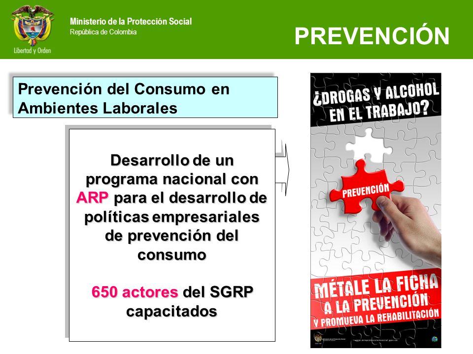 Ministerio de la Protección Social República de Colombia Apoyo a iniciativas de la sociedad civil Convenio con UNODC Financiación de 61 iniciativas de prevención, capacitación y conformación de redes.