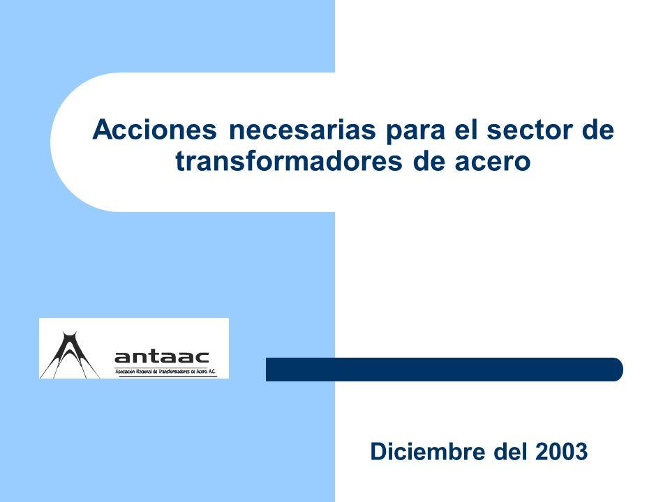Acciones necesarias para el sector de transformadores de acero Diciembre del 2003