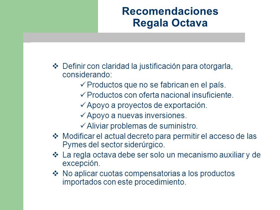 Recomendaciones Regala Octava Definir con claridad la justificación para otorgarla, considerando: Productos que no se fabrican en el país.