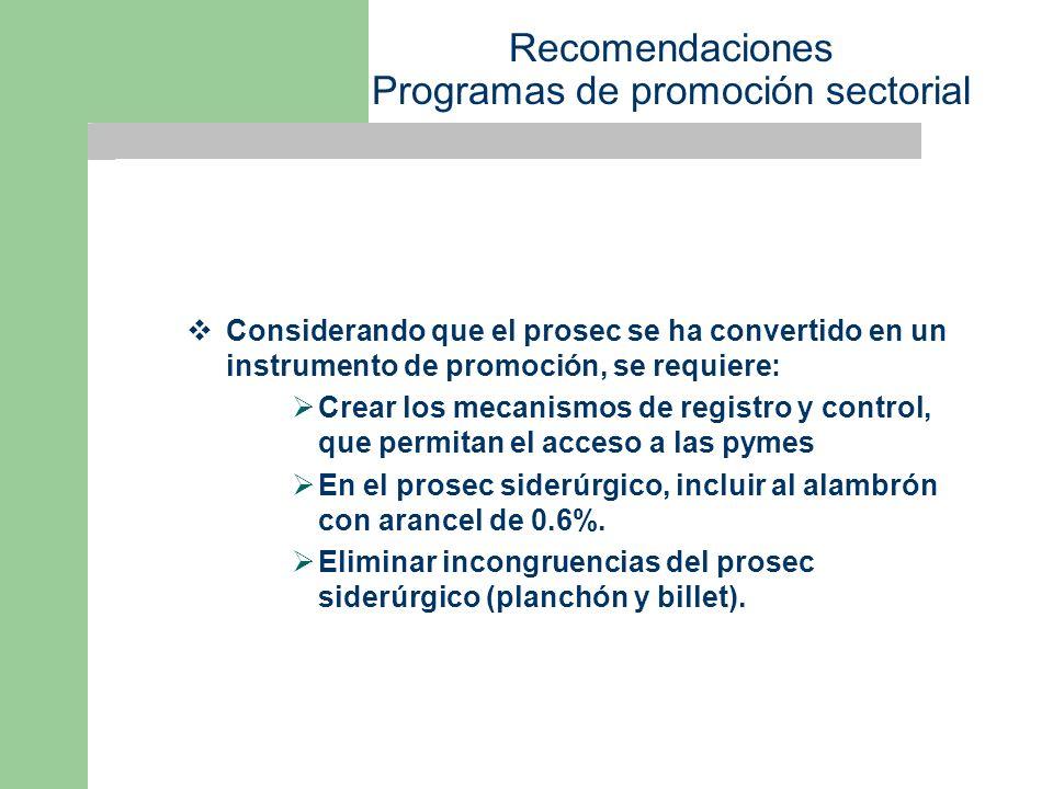 Recomendaciones Programas de promoción sectorial Considerando que el prosec se ha convertido en un instrumento de promoción, se requiere: Crear los mecanismos de registro y control, que permitan el acceso a las pymes En el prosec siderúrgico, incluir al alambrón con arancel de 0.6%.