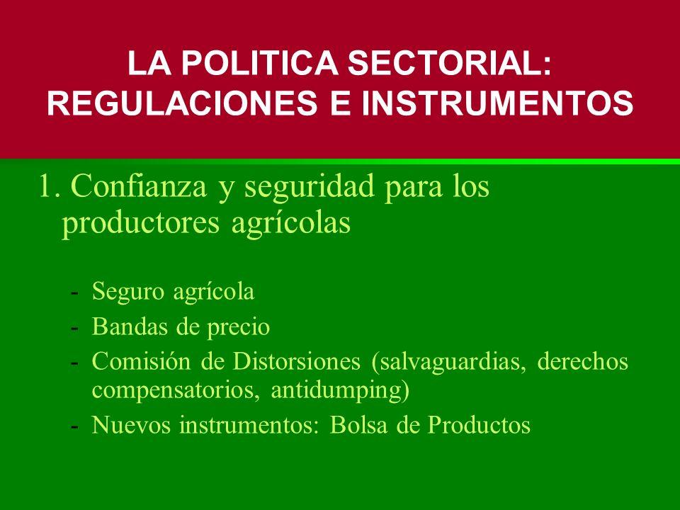 1. Confianza y seguridad para los productores agrícolas -Seguro agrícola -Bandas de precio -Comisión de Distorsiones (salvaguardias, derechos compensa