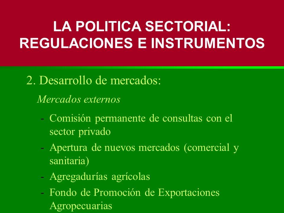 2. Desarrollo de mercados: Mercados externos -Comisión permanente de consultas con el sector privado -Apertura de nuevos mercados (comercial y sanitar