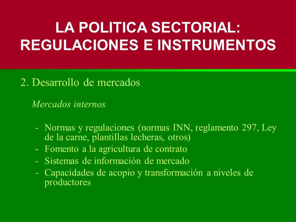 2. Desarrollo de mercados Mercados internos -Normas y regulaciones (normas INN, reglamento 297, Ley de la carne, plantillas lecheras, otros) -Fomento