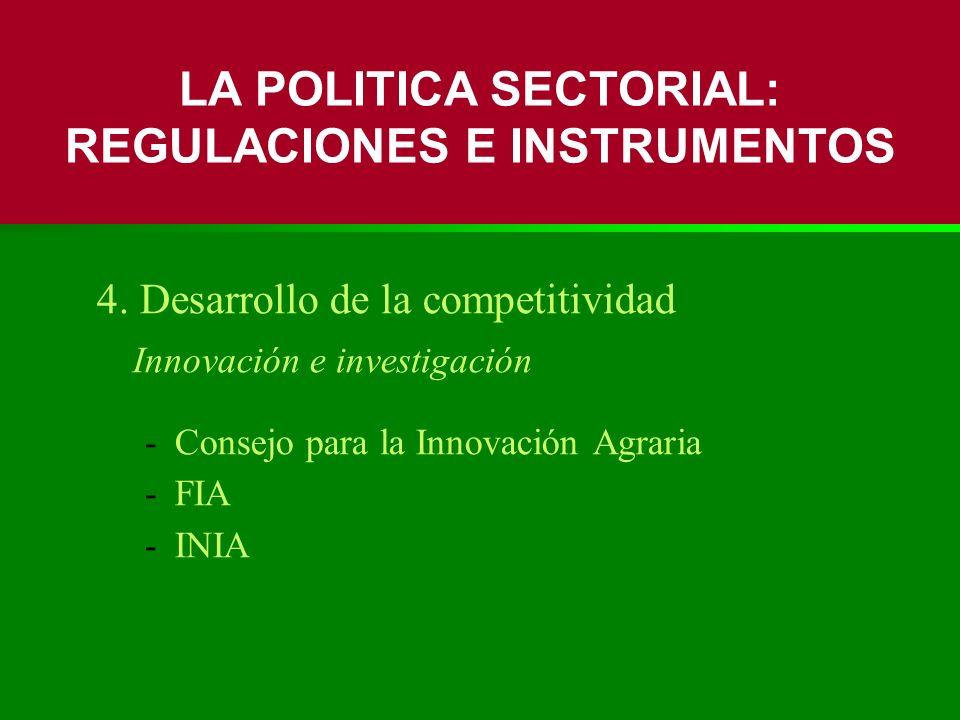 4. Desarrollo de la competitividad Innovación e investigación -Consejo para la Innovación Agraria -FIA -INIA LA POLITICA SECTORIAL: REGULACIONES E INS