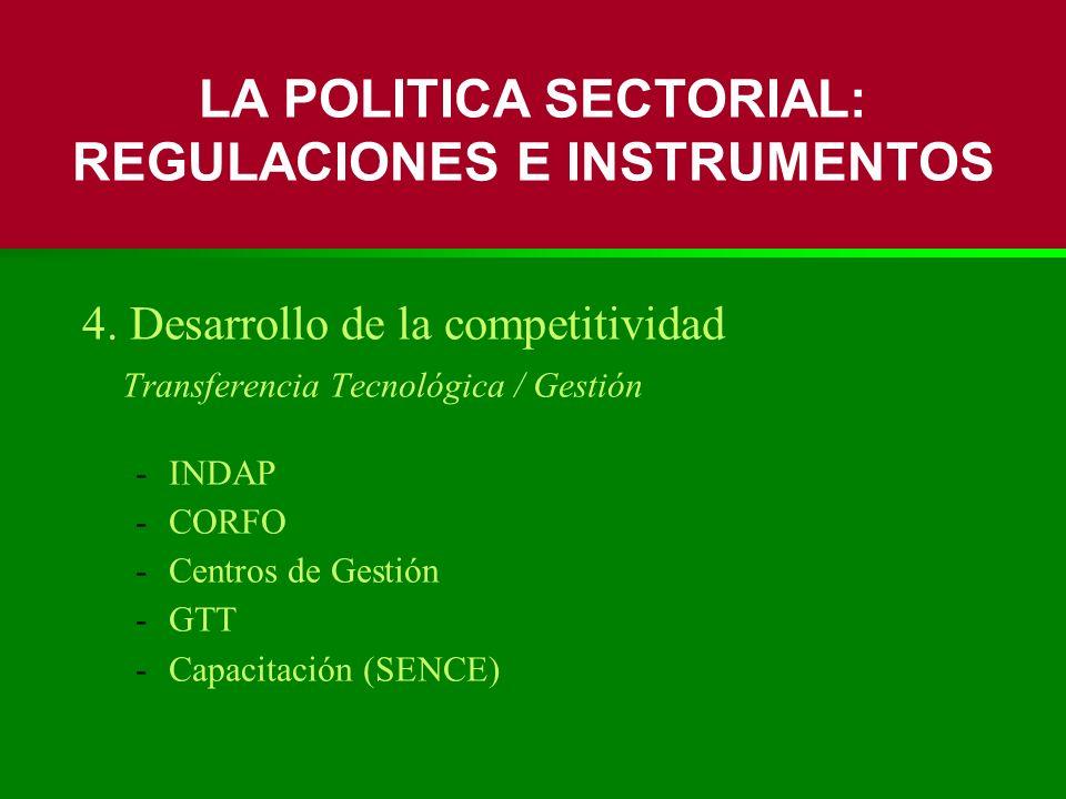 4. Desarrollo de la competitividad Transferencia Tecnológica / Gestión -INDAP -CORFO -Centros de Gestión -GTT -Capacitación (SENCE) LA POLITICA SECTOR